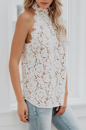 Hollow Lace Sleeveless Top