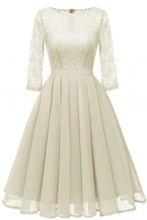 Lace Patchwork Pleated A-line Dress