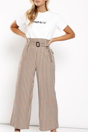 Khaki Gingham Belt Pants