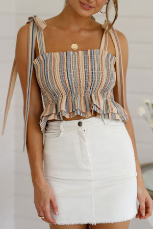 Knot Shoulder Ruffled Top