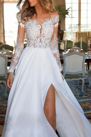 Lace Patch See Through Slit Dress