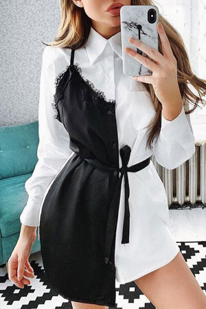 Lace Patchwork Shirt Dress