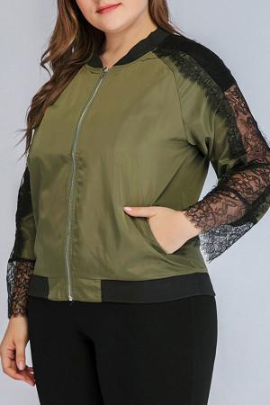 Lace Patchwork Zipper Jacket