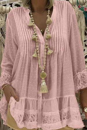 Lace Round Dot Chiffon Blouse