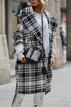 Lapel Gingham Long Coat
