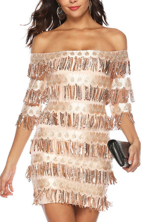 Layered Tassel Sequins Dress