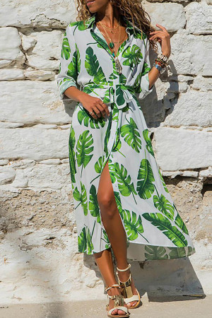 Leafy Sashes Shirt Dress