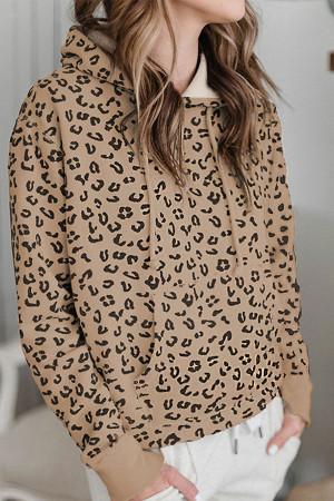 Leopard Print Drawstring Hoodie