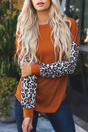 Leopard Print Panel Knit Sweater