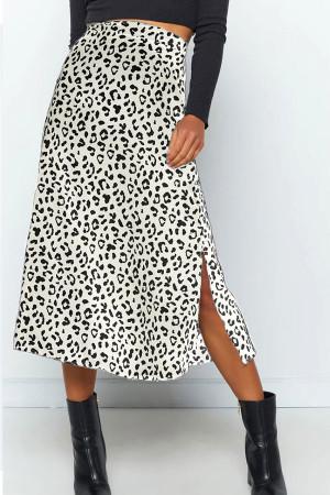 Leopard Print Split Skirt