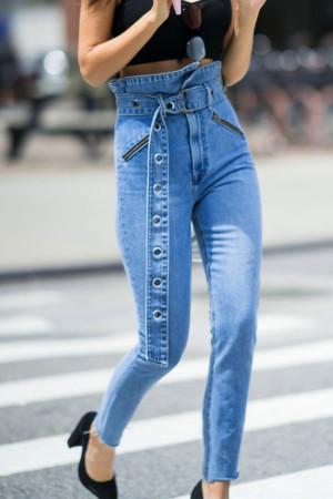 Light Sky Blue Belted Jeans