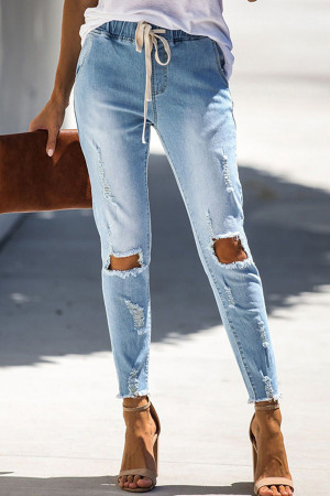 Blue Shredded Jeans