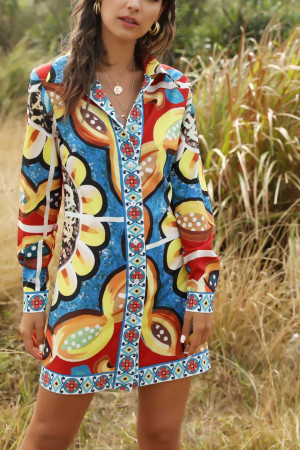 Long Sleeves Print Shirt Dress