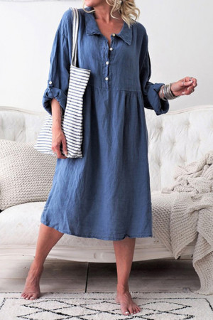 Loose Buttons Midi Dress