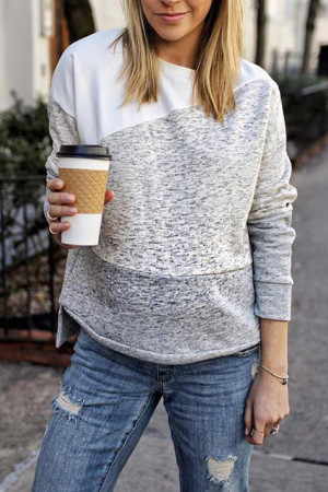 Loose Color Block Sweatshirt