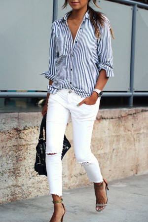 Loose Vertical Stripe Shirt