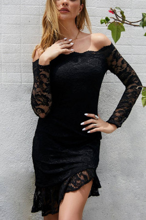 Off-the-shoulder Eyelet Lace Dress