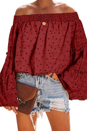 Off Shoulder Print Blouse
