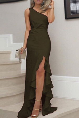 One-Shoulder Ruffles Split Dress