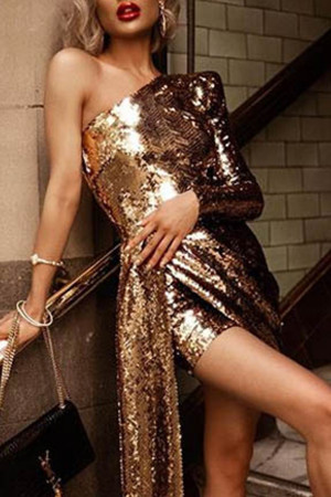 One-shoulder Sequins Dress