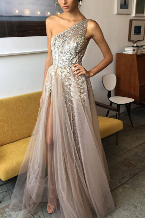 One-shoulder Sparkly Bridesmaid Dress