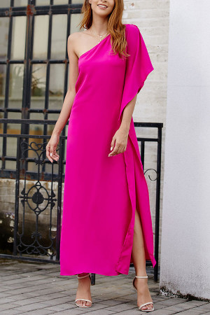 One Shoulder Slit Solid Dress