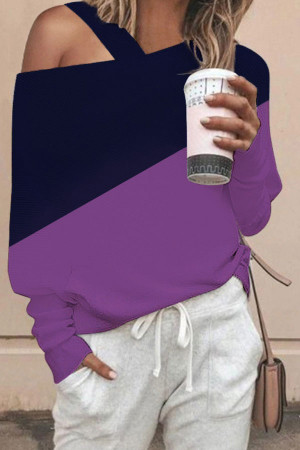 One Shoulder Two-tones T-shirt