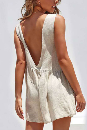 Open Back Pockets Romper
