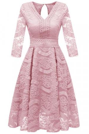 V-neck Lace Homecoming Dress