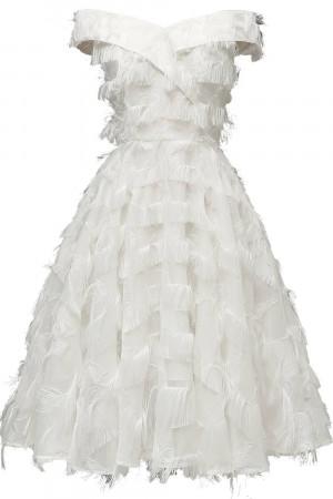 Off-the-shoulder Tasseled Dress