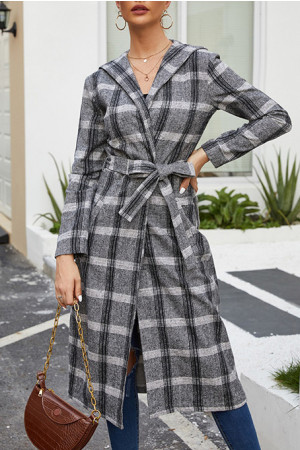 Plaid Belt  Loose Coat
