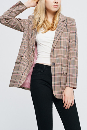 Plaid Flap Pockets Blazer