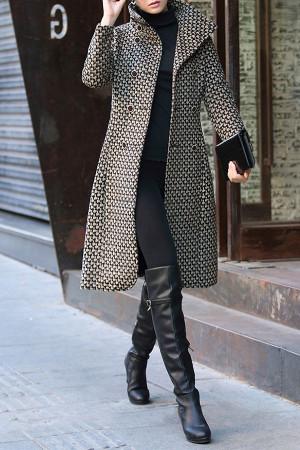 Plaid Mock-neck Wool Coat