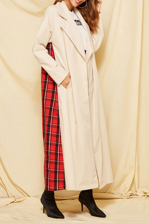 Plaid Patchwork Loose Coat