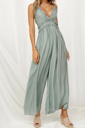 Plain V-neck Sleeveless Jumpsuit