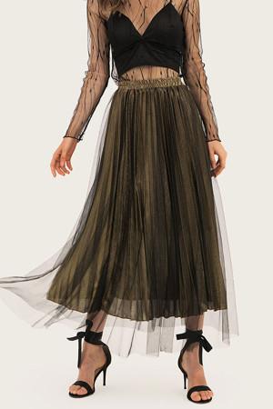 Pleated Tulle Long Skirt