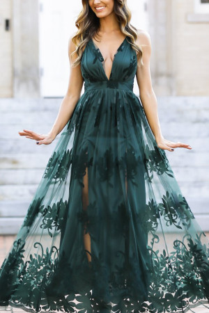 Plunge Neck Mesh Prom Dress