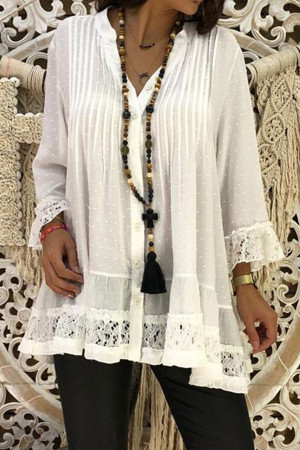 Plus Size Lace Patchwork Shirt