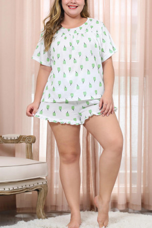 Plus Size Printed Pajama Set