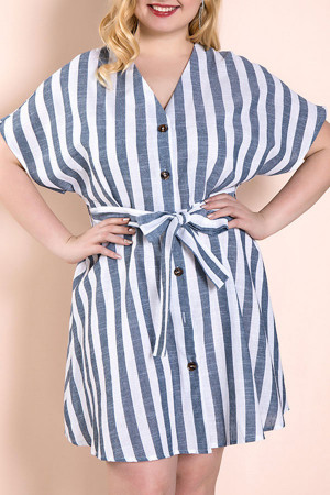 Plus Size Striped Lace-up Dress