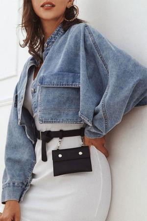 Pockets Cropped Denim Coat