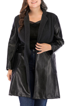 Pockets Plus Size PU Coat