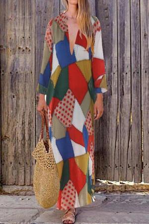 Polka Dot Deep V-neck Dress