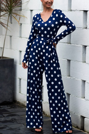 Polka Dot Lace-up Jumpsuit