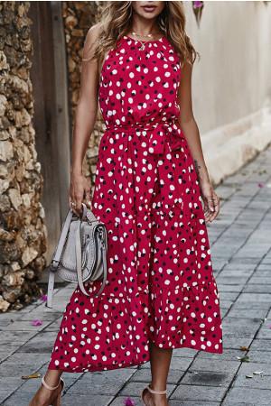 Polka Dot Sleeves Wrap Dress