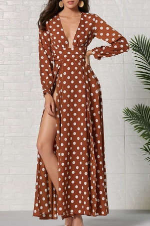 Polka Dot Slit Maxi Dress