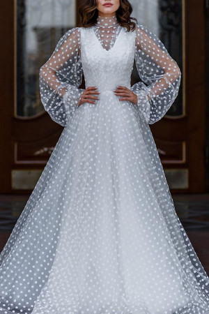 Polka Dot Tulle See Thru Dress