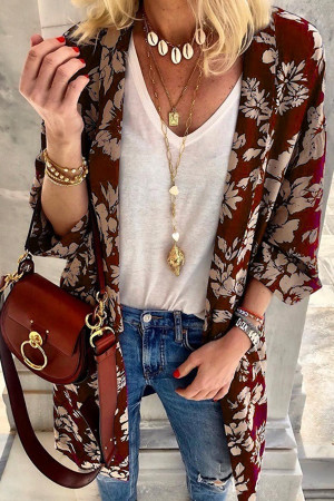 Print Bat Sleeves Cardigan
