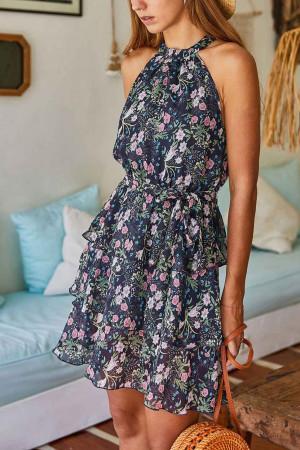 Print Layered Ruffle Dress