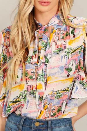 Print  Sashes  Sleeveless  Shirt